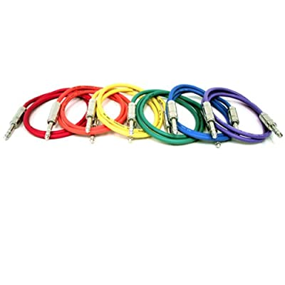 "GLS Audio 6ft Patch Cable Cords - 1/4"" TRS To 1/4"" TRS Color Cables - 6' Balanced Snake Cord - 6 PACK by GLS Audio"