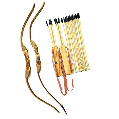 Adventure Awaits! - 2-Pack Handmade Wooden Bow and Arrow Set - 20 Wood Arrows and 2 Quivers - for Outdoor -
