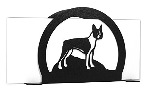 BOSTON TERRIER Metal Letter Napkin Card Holder