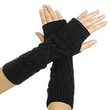 Women's Crochet Stretchy Long Sleeve Fingerless Gloves