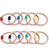 Goutoports 10 Multicolor Quoits Ropes Kids Ring Toss Game
