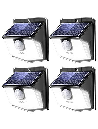 LITOM Solar Lights Outdoor, IP67 Waterproof Solar Motion Sensor Light with 270° Lighting Angle, Wireless 30 LED Solar Powered Security Wall Lights for Patio,Yard,Garage,Garden,Stairs,Driveway 4 Pack 270 Motion Security Lighting