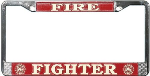Fire Fighter Chrome License Plate Frame ()