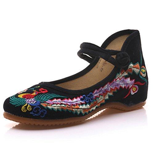 Fanwer Mary Jane Toile Phoenix Brodé Femmes Semelle Souple Chaussures Chinoises Casual Appartements Noir