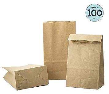 100 Kraft marrón bolsas de papel con base 9 x 16 x 5 cm, 70