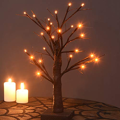 Twinkle Star 24 LED Lighted Birch Tree Battery Operated with 24 DIY Pumpkins, Indoor Home Table Desktop Best Holiday Decorations