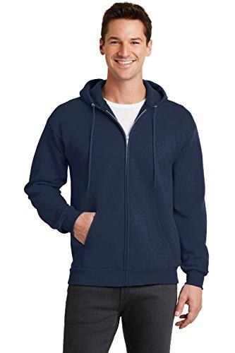Sportoli Men's Adult Hooded Fleece Slim Fit Zipper Full Zip Up Hoodie Sweatshirt - Navy (2X-Large)