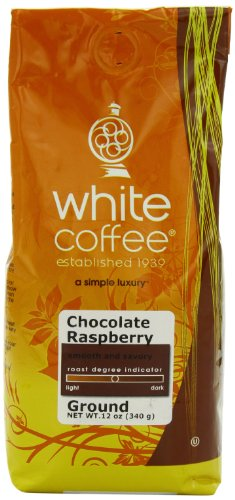 White Coffee Ground Coffee, Chocolate Raspberry, 12 Ounce