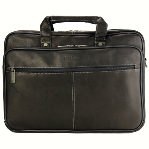 Grain Leather Double Gusset Briefcase - Heritage Double Gusset Top Zip Computer Case with Lined Interior, Black, One Size