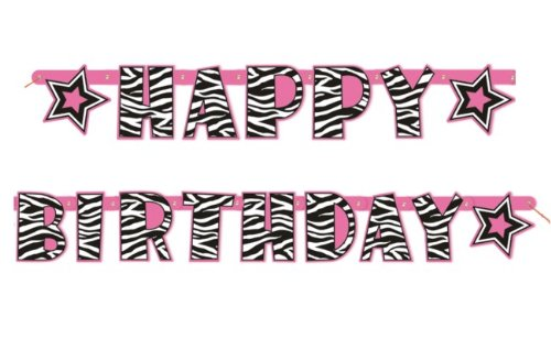 5.24ft Zebra Print Happy Birthday Banner -