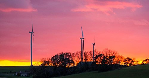 Wind Energy Sunset, North of Madison, Wisconsin Photograph