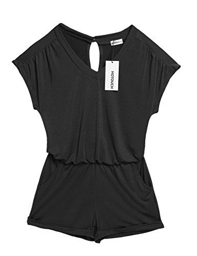HOTOUCH Women Cotton Rompers Elastic Waist Jumpsuit Playsuit (Black (Cotton Short Sleeve Romper)