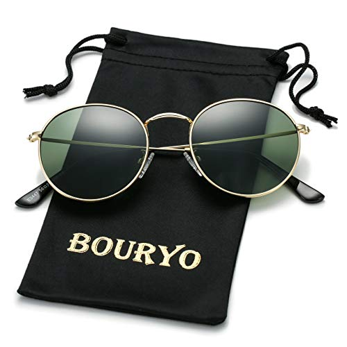 BOURYO Classic Small Round Polarized Sunglasses for Men Women Metal Frame Mirrored Lens Sun Glasses 3447(Gold/G15)