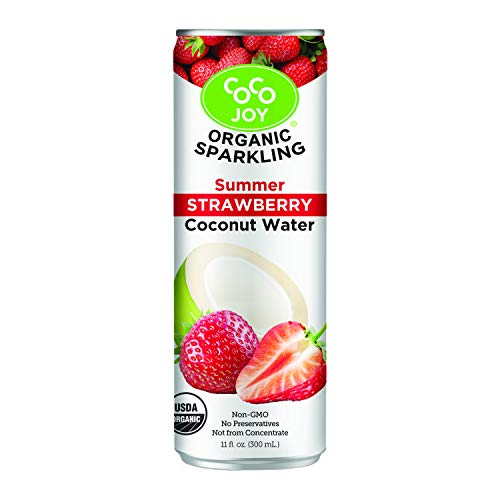100% Organic Premium Sparkling Coco Joy Coconut Water 11 Fl oz Can - Summer Strawberry - 12 Pack - Refreshing, Non-GMO, Packed with Electrolytes, No Preservatives