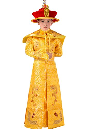 springcos Chinese Costumes Emperor Boys Fancy Dress Dragon Golden