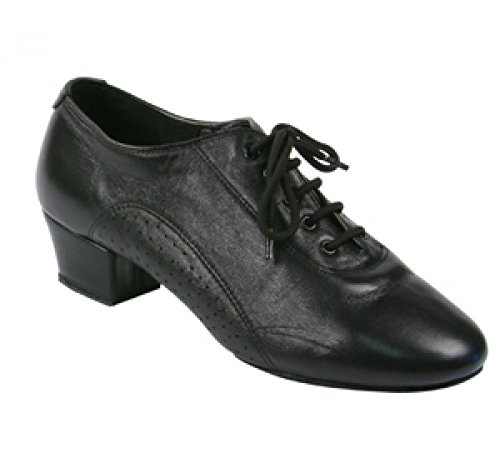 Stephanie Mens Latin Ballroom Dance Shoes in Black Leather 93001-11 With 1.5 Inch Heel 6Ke4fiOE