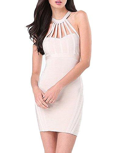Bebe Bandage Dress (bebe Sexy Natalie Mock Neck Strap Sleeveless Bandage Dress L Beige)