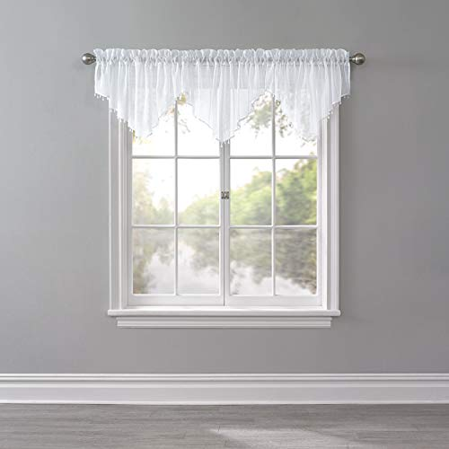 (BrylaneHome Bh Studio Crushed Voile Ascot Valance - White)