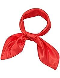 Chiffon Scarf Square Handkerchief Satin Ribbon Scarf for Women Girls Ladies, 23.6 by 23.6 Inch