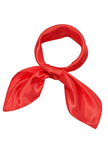 Satinior Chiffon Scarf Square Handkerchief Satin Ribbon Scarf Neck Scarf for Women Girls Ladies Favor (23.6 x 23.6 inches, Red)
