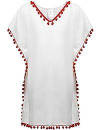 DUSISHIDAN Kids Beach Cover Ups Girls Crochet Pullover Swim Coverup Sun Dress Bathing Suit with Pom Poms White