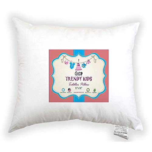 Trendy Kids Toddler Pillow 13x18 100% Cotton Baby/Toddler/Travel Pillow 200TC - No Extra Pillowcase/Sham Needed - Machine Washable and Hypoallergenic, Perfect for Kids, Infant from Trendy Kids