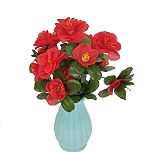 Cupcinu Artificial Flowers Simulated Azalea Fake Flowers Fake Silk Bouquet Flower for Home Wedding Decor Without vase 63