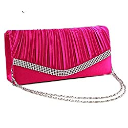 Diagonal Pleated Crystal Tote Purses