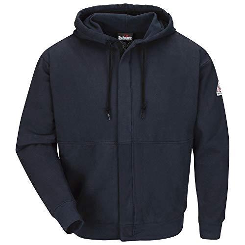 (Bulwark FR Men's SEH4 Flame Resistant Zip-Front Hooded Sweatshirt (2X-Large, Navy))