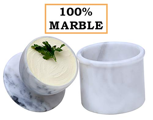 Butter Dish Cover Pot Handmade Marble French Butter Storage Bell Crock Keeper for Kitchen - Non Ceramic - Utensil Holder - Cold Cheese Deep Covered Kitchenware Jar Container butter grater churner boat ()