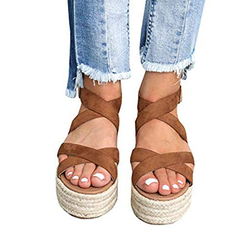 - Liyuandian Womens Open Toe Espadrille Ankle Strap Boho Lace Up Rivet Flatform Sandals (41 EU-10.84in(Foot Length)-10 US, B Brown)