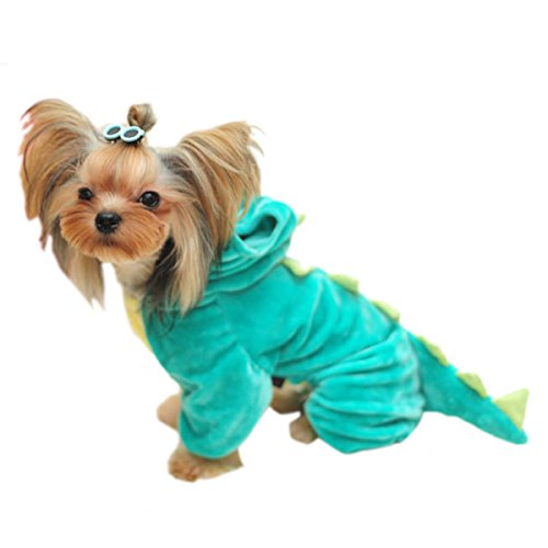 Adorrable Pet Plush Dinosaur Costume Hooded Warm Cute Solid Four Leg Fleece Pet Costume, Green, X-Large