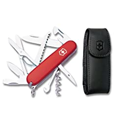 "VERSATILE SIDEKICK  Whether you're an avid outdoorsman or an everyday user, the 3.6"" Huntsman is a cut above the rest. Featuring 15 tools, stainless steel construction, Swiss-Made precision, and a leather clip pouch – you'll want the Huntsman..."