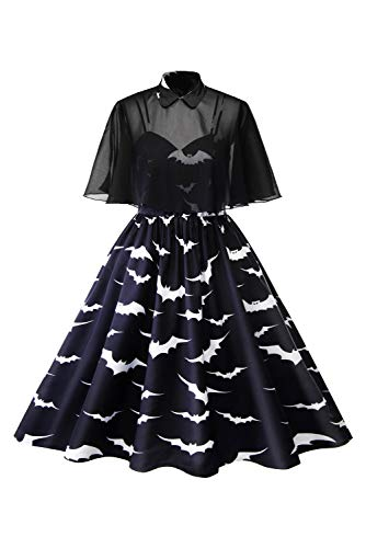 Floral Voile Dress - Women's Vintage Dress 1950s Retro Peter Pan Collar Cocktail Party Swing with Voile Cape (X-Large, Floral)