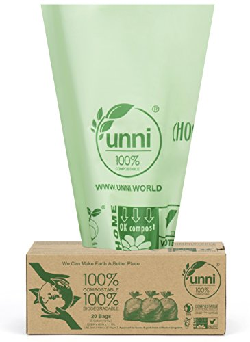 UNNI ASTM6400 Certified 100% Compostable Bags,30-33 Gallon,20 Count,Heavy Duty 1.1 Mils Extra Thick Lawn and Leaf Waste Compost Bag,Non-GMO,US BPI and European VINCOTTE OK HOME Certified|San Francisco