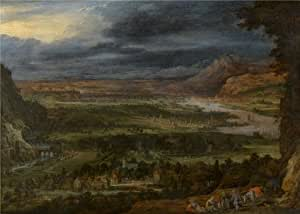 Oil painting 'Toegeschreven aan Peeter Gijsels,Landscape,17th century' printing on Linen Canvas , 24x34 inch / 61x85 cm ,the best Basement decoration and Home decoration and Gifts is this Reproductions Art Decorative Canvas Prints