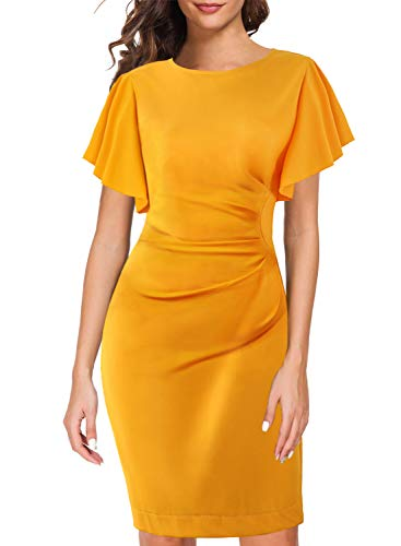 Retro Dresses for Women 60's Vintage Rounded Neck Wear to Work Office Casual Formal Evening Cocktail Ladies Hawaiian Holiday Party Dress 935 (L, Yellow)