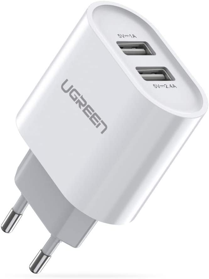 UGREEN Cargador USB Pared con Dos USB Puertos 5V 2.4A y 5V 1A Enchufe Multipuerto Europeo para iPhone XR, XS, X, 8, Samsung Galaxy A70, S7, J6, Xiami Redmi Note 7, Note 6 Pro, Huawei P10 Lite