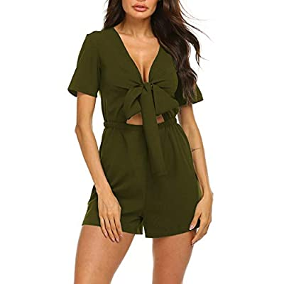 Sweetnight Women's Short Sleeve Self Tie Summer Casual Loose Beach Rompers Jumpsuits Playsuits: Clothing