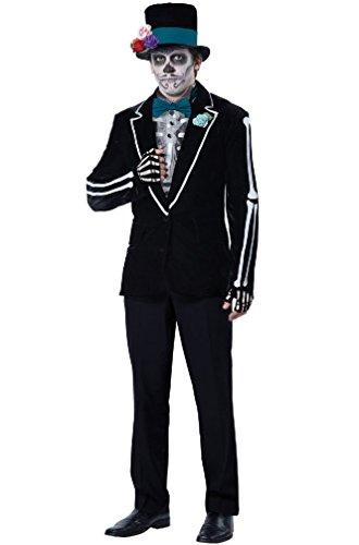[8eighteen El Novio Muerto Day of the Dead Skeleton Groom Men Adult Costume] (Dead Groom Costume)