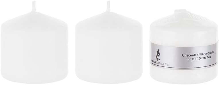 Mega Candles 3 pcs Unscented White Round Pillar Candle, Pressed Premium Wax Candles 3 Inch x 3 Inch, Home Décor, Wedding Receptions, Baby Showers, Birthdays, Celebrations, Party Favors & More