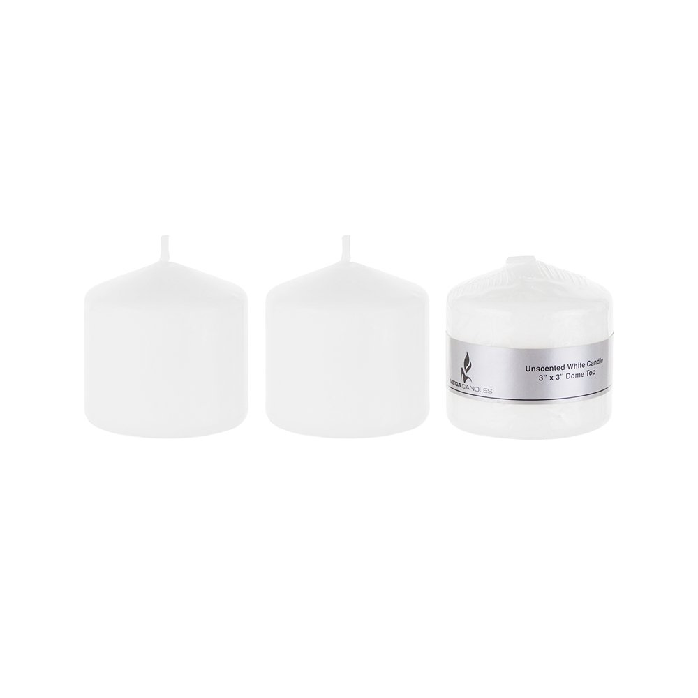 Mega Candles - Unscented 3'' x 3'' Round Pillar Candle - White, Set of 3