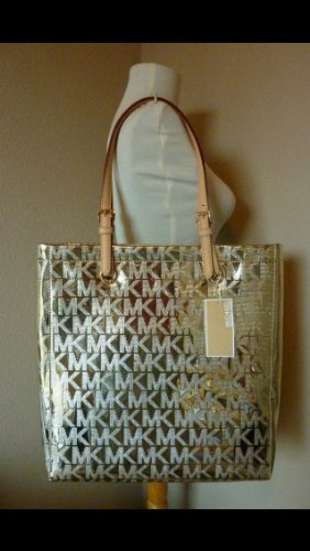 a9fe6096e0d8 Amazon.com : Michael Kors Jet Set Item MK Signature Mirror Metallic Item  North South Tote 38T1CTTT3Z (Pale Gold) : Beauty