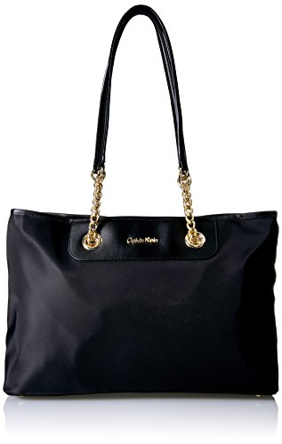 Calvin Klein Nylon Chain Key Item Tote, Black/Gold/No Quilt