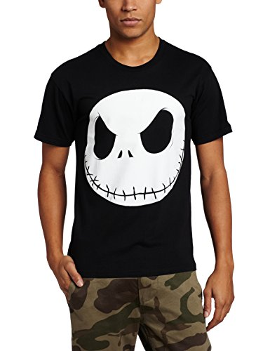 Disney Nightmare Before Christmas Men's Fat Head T-Shirt, Black, X-Large
