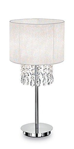 Ideal Lux Opera TL1 E27 Blanco lampara de mesa - Lamparas de mesa (Blanco, Metal, Cloruro de polivinilo, Salon comedor, Salon, IP20, E27, 1 bombilla