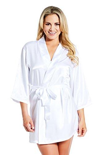(Jovannie Satin Robe 3/4 Sleeve with Matching Sash Short Length (White, L))