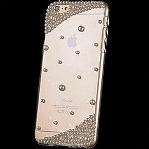 Fashion Diagonal Pearl Rhinestone Transparent PC Hard Case for iPhone 6