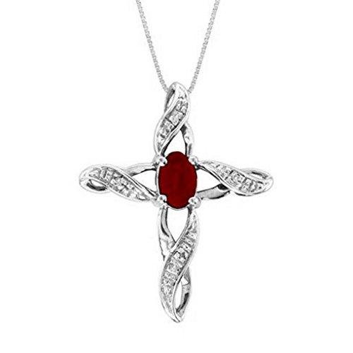 Diamond & Ruby Cross Pendant - 6