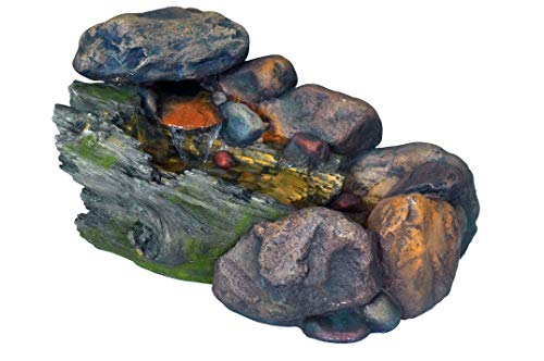 Stony Brook Rock Waterfall Fountain w/LED Lights - Burbling Garden Fountain with LED Lights. Realistic Water Feature with Low Splash Design. Pump Included. HF-R26-23L